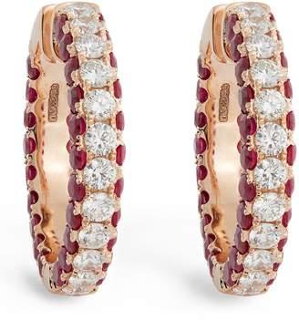 Shay Rose Gold, Diamond and Ruby Deco Hoop Earrings