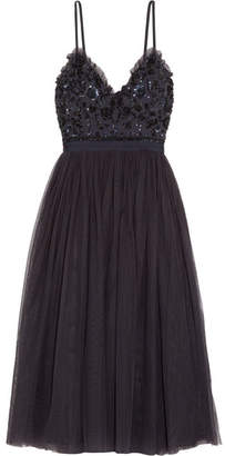 Needle & Thread Open-back Embellished Crepe And Tulle Midi Dress - Midnight blue