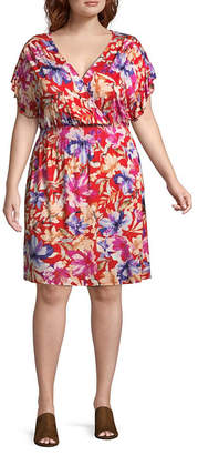 Spense Short Sleeve Floral Fit & Flare Dress - Plus