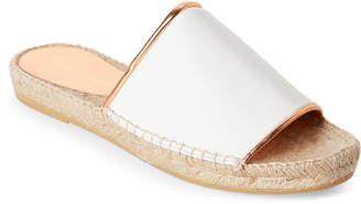 Robert Clergerie White & Rose Gold Ela Espadrille Slides