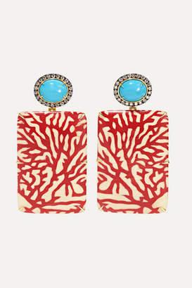 Silvia Furmanovich Marquetry 18-karat Gold, Wood, Diamond And Turquoise Earrings
