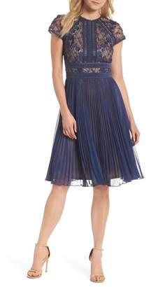 Tadashi Shoji Embroidered Mesh & Chiffon Dress