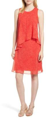 Anne Klein Chiffon Overlay A-Line Dress