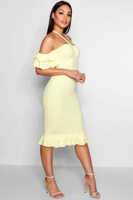 boohoo Rebecca Double Ruffle Off The Shoulder Midi Dress