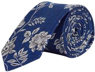 Burton Mens Cobalt Silver Floral Tie