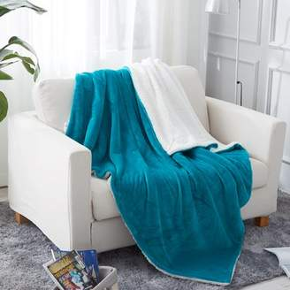 "Unbranded Throw Blanket (50""x60"", Teal), Sherpa Throw Blanket for Couch, Plush Soft Warm, Reversible Plush Fleece Bed Couch Blanket"
