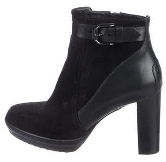 Tod's Leather & Suede Ankle Boots Black Leather & Suede Ankle Boots
