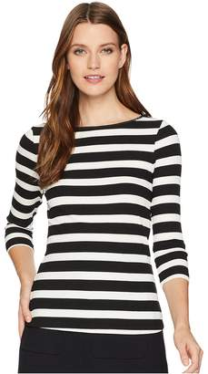 Three Dots Alpine Stripe 3/4 Sleeve Top w/ Shell Stitch Women's Clothing