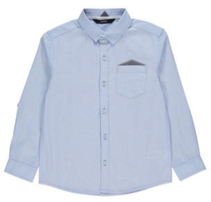George Blue Textured Patch Pocket Long Sleeve Shirt