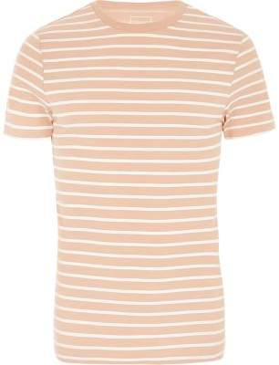 River Island Womens Pink stripe crew neck muscle fit T-shirt