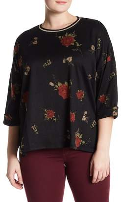 Hip Printed Hacci 3/4 Length Sleeve Sweater (Plus Size)