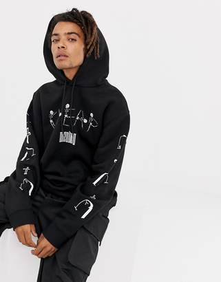 Cheap Monday Hoodie In Black With Resting Skull Print
