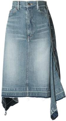Puma Maison Yasuhiro asymmetric denim pencil skirt