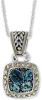 """Effy Blue Topaz 18"""" Pendant Necklace (1-9/10 ct. t.w.) in Sterling Silver & 18k Gold"""