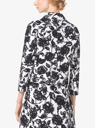 Michael Kors Brushstroke Floral Matelasse Cropped Jacket