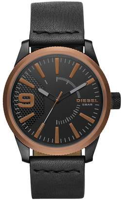 Diesel Rasp Copper IP Black Leather Strap Mens Watch