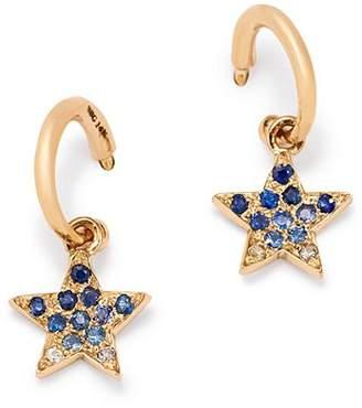 SheBee 14K Yellow Gold Ombré Blue Sapphire Star Hoop Drop Earrings