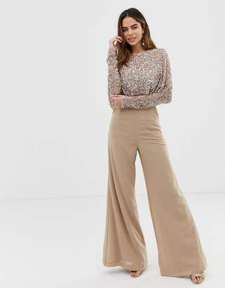 Maya cape detail jumpsuit with tonal delicate sequin top in taupe blush