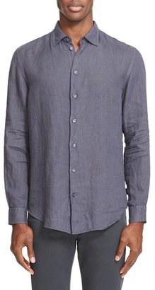 Men's Armani Collezioni Trim Fit Linen Sport Shirt $295 thestylecure.com