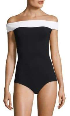Chiara Boni One-Piece Color Block Off-The-Shoulder Swimsuit