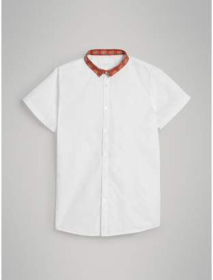 Burberry Short-sleeve Tiled Archive Print Collar Cotton Shirt