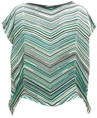 Issey Miyake Striped Technical Pleated Jersey Top - Womens - Green Multi