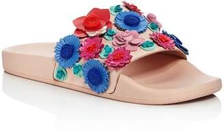 Kate Spade Women's Skye Floral Leather Pool Slide Sandals