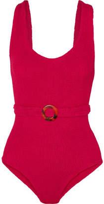 HUNZA G - Solitaire Embellished Seersucker Swimsuit - Pink