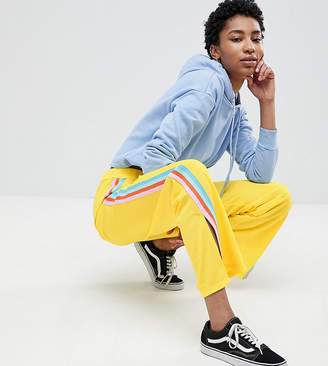 Asos Tall Design Tall Trackpants With Rainbow Side Stripe And Vent Detail