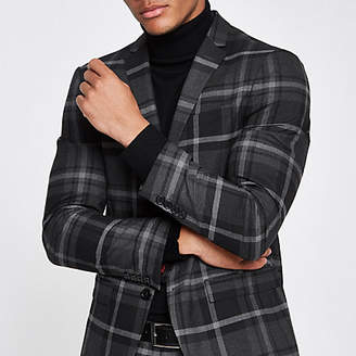 River Island Grey check print skinny fit suit jacket