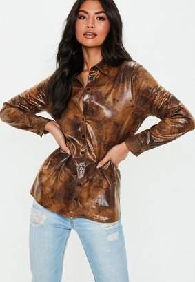 Missguided Brown Vinyl Croc Shirt