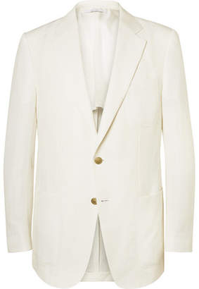 Dunhill Ivory Cotton and Linen-Blend Blazer