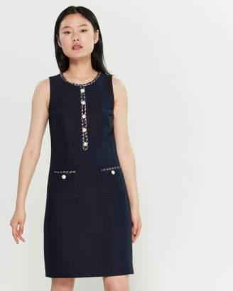 Karl Lagerfeld Paris Navy Tweed Shift Dress