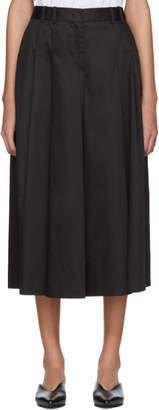 Jil Sander Navy Black Satin Wide-Leg Trousers