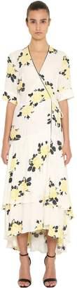 Ganni Printed Ruffled Crepe Midi Dress