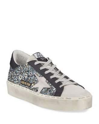Golden Goose Hi Star Glittered Leather Platform Sneakers