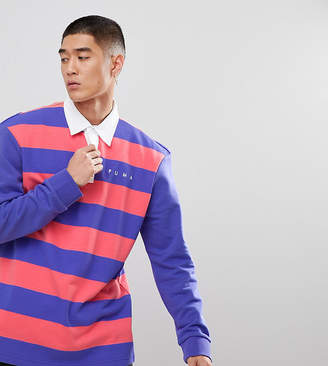 Puma Striped Rugby Shirt In Purple Exclusive To ASOS