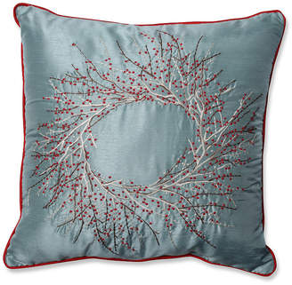 "Pillow Perfect Christmas Wreath 18"" Throw Pillow"