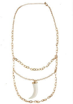 Multi Chain Ivory Horn Necklace