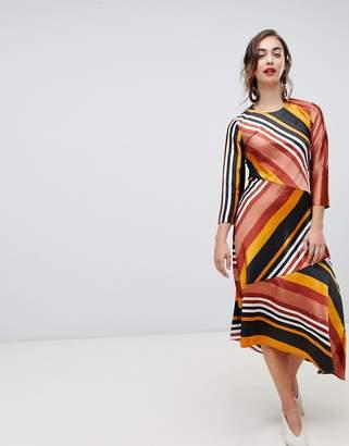 Warehouse hanky midi dress in stripe