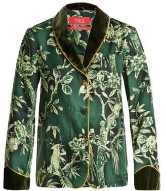 F.R.S – For Restless Sleepers F.r.s For Restless Sleepers - Persefone Velvet Trimmed Silk Twill Pyjama Shirt - Womens - Green Print
