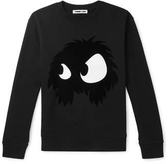 McQ Flocked Printed Loopback Cotton-Jersey Sweatshirt - Men - Black
