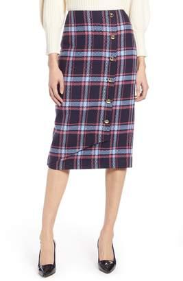 Halogen x Atlantic-Pacific Plaid Wrap Pencil Skirt