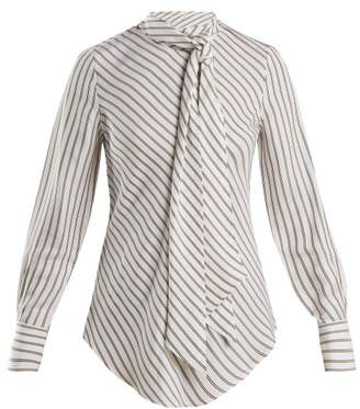 See by Chloe Striped Crepe Blouse - Womens - White