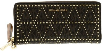 3ae08343d795 at Walmart · Michael Kors Women's Studded Travel Continental Leather Wallet  - Brown