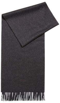 BOSS Hugo Tailored Italian-made scarf in cashmere fringed hem One Size Open Grey