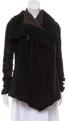 Rick Owens Leather-Accented Wool Jacket