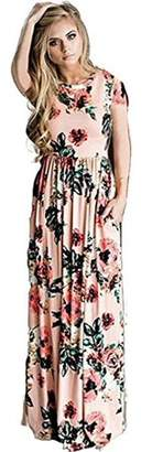 Sibylla SIBYLLA Women's Short Sleeve Loose Floral Casual Long Dress With Pockets