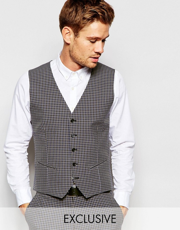 Selected Homme Exclusive Gingham Vest in Skinny Fit