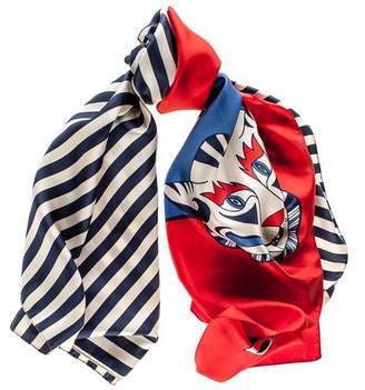 Black Red, White and Blue Tiger Print Silk Scarf